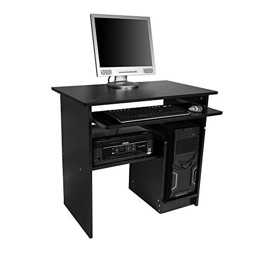 Image of Mari Home - Regent Black Home Office Computer Corner Desk Workstation with Sliding Keyboard Shelf