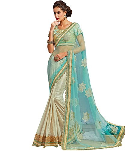 indian-ethnic-net-and-shimmer-georgette-aqua-blue-and-light-beige-half-and-half-saree