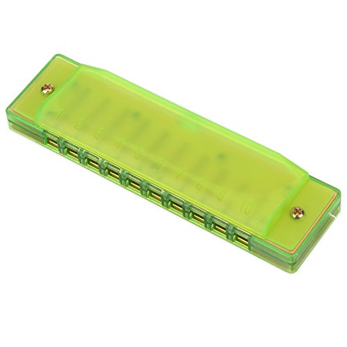 Bunte Harmonika 10 Löcher Kunststoff Mundharmonika Kinder Musikinstrument Spielzeug Lernen Anfänger Professional Musik Instrument ( Farbe : Grün )