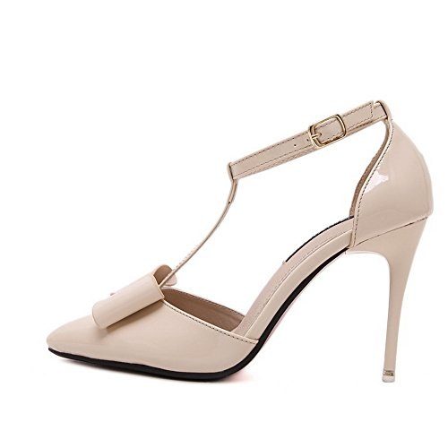 ... AalarDom Damen Pu Leder Stiletto Rein Schnalle Pumps Schuhe mit Schleife  Aprikosen Farbe ...