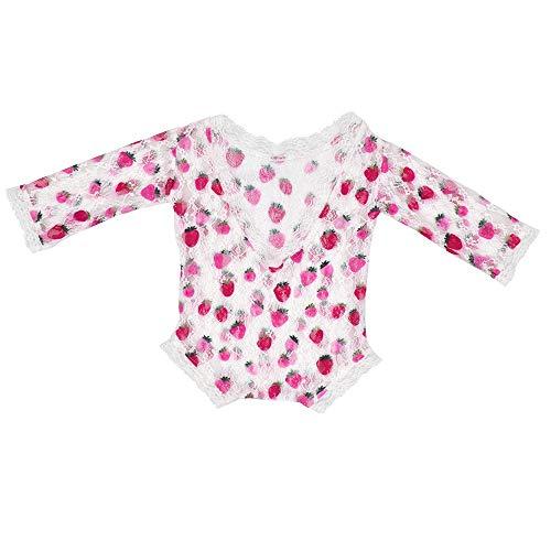 Baby Strawberry Kostüm - Baby-Fotografie-Kleidung Neugeborenen Strampler Baby Girl Outfit Fotografie Prop Vintage Neugeborenen Strampler Baby häkeln Kostüm Outfits Fotografie Requisiten ( Farbe : Strawberry , Größe : S )