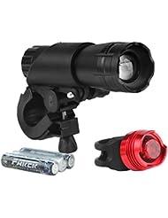 Rixow LED Fahrradlampe CREE Frontlicht und Rücklicht 3 Licht-Modi 200LM(Verbesserte)