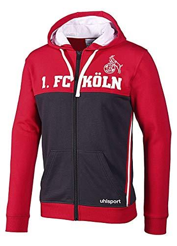 uhlsport 1.FC Köln Sportswear Jacke Herren Sweatjacke Trainingsjacke Full Zip anthrazit/rot, Bekleidungsgröße:XL