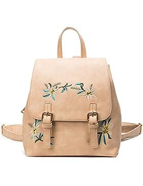 Frauen Mädchen PU-Leder Kleine Rucksack Weinlese Blumenstickerei Schultaschen Umhänge Tasche Tagesrucksack
