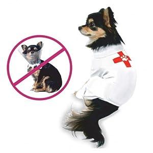 Combinaison chien protection plaie opération, blanc, 3XL de Theo