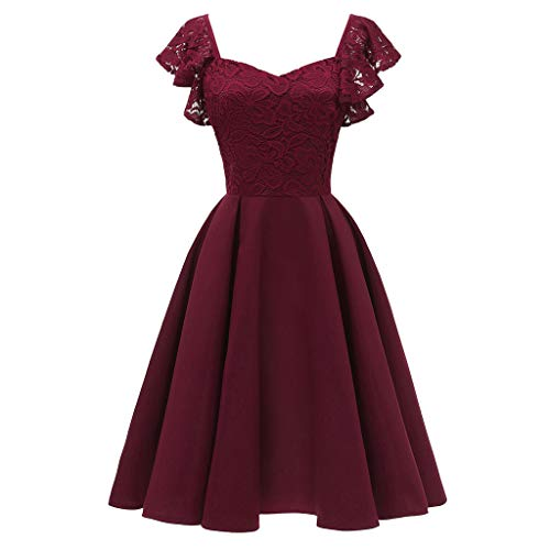 KPILP Frauen Elegantes Kleid 1950er Vintage Spitze Formale Prinzessin Aline Petticoat Floral Cocktail V-Ausschnitt Party Schaukel(A3-weinrot,EU-42/CN-XL)