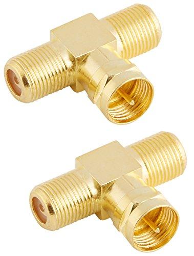 Poppstar 2x SAT TV Coax Verteiler T-Stück (2x F-Buchse auf 1x F-Stecker), F-Adapter Antennen Splitter für Koaxialkabel - Antennenkabel (Antennenadapter Kupplung), vergoldete Kontakte -