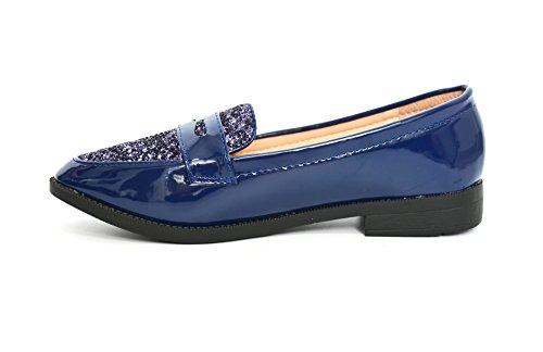 SHF44 * Mocassins Vernis Uni avec Bande Ouverte et Paillettes à l'Avant - Mode Femme (Bleu) Bleu