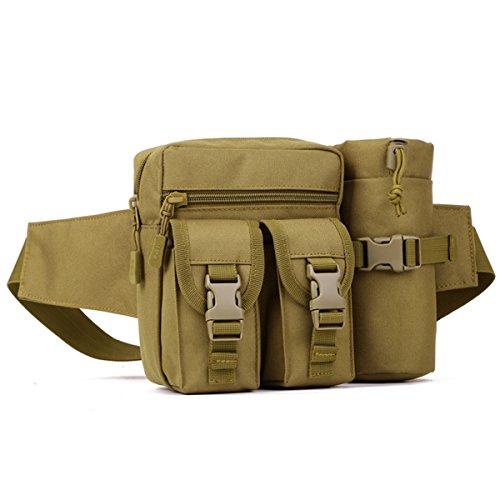 Imagen de huntvp  táctical bolso de cintura bolsa riñonera bandolera cinturón estilo militar bolso de múltiple función riñoneras para herramientas  ejércita bolso impermeable para correr, senderismo, ciclismo,camping, caza, etc, color marrón