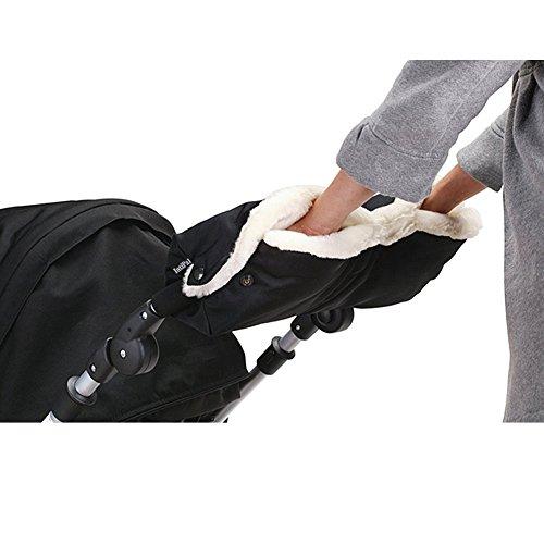 IntiPal Extra Dick Handwärmer Handschuhe Handmuff für Kinderwagen Buggy Kinderwagenmuff (Schwarz)