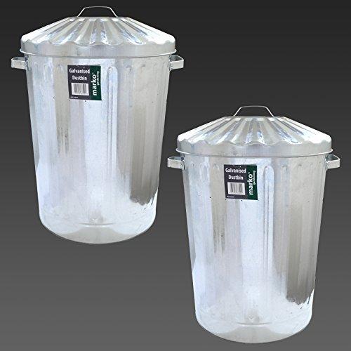 2x-large-90l-galvanised-metal-bin-rubbish-waste-dustbin-animal-feed-storage-litre-ltr