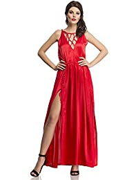 Clovia Women Sexy Satin Nightgown With Mesh Lace In Red