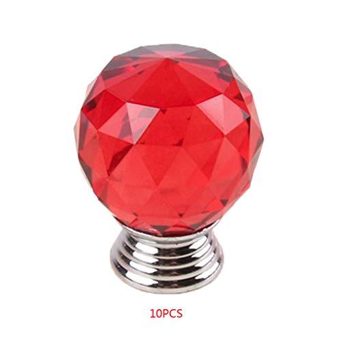 Busirde 30mm poliert Kugel-Form-Kristallglas-Türknauf Küchenschrank Kleiderschrank Schublade Griff ziehen rot 30 * 40mm -