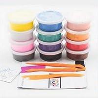 Soft Slime Toy Autistic niños terapia de mano Surtido de colores de neón verde, azul, naranja y amarillo para niños exclusivos. (Caja de 12 colores)