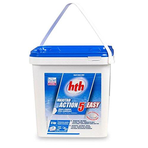 NEUHEIT - hth MaxiTab 200g ACTION 5 EASY (wasserlöslicher Beutel), 5 in 1 MultiTabs zur Poolwasserpflege - Wasserlösliche Beutel