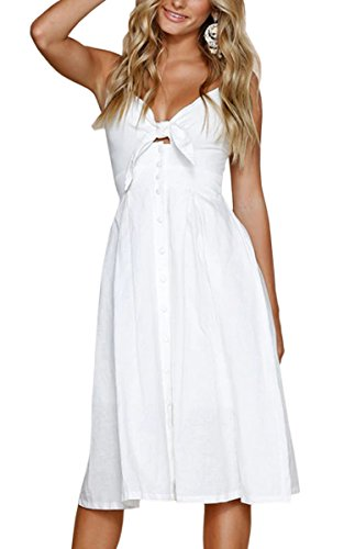 ECOWISH Damen V Ausschnitt A-Linie Kleid Träger Rückenfreies Kleider Sommerkleider Strandkleider Knielang Weiß S - Weiß Abschlussball Kleider V-ausschnitt