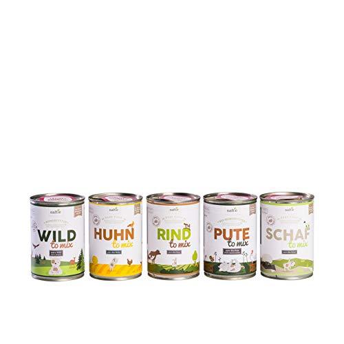 naftie Bio Hundefutter Schnupperbox Pure Food 10 x 150g Beutel Ergänzungs-Nassfutter mit 100% Fleischanteil Probierpaket glutenfrei getreidefrei (10 x 150g)