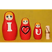 Matrioska rosso nesting doll russo con le parole d'amore, intagliato a mano in legno, dipinta a mano, grande regalo, 3 pezzi, 9
