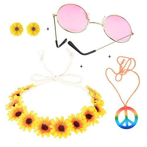 Kitchen-dream 4 Stücke Hippie Kostüm Set, 60s 70s Hippie Zubehör Damen, Hippie Sonnenbrille, Blume Haarband, Frieden Zeichen Halskette und Peace Ohrringe