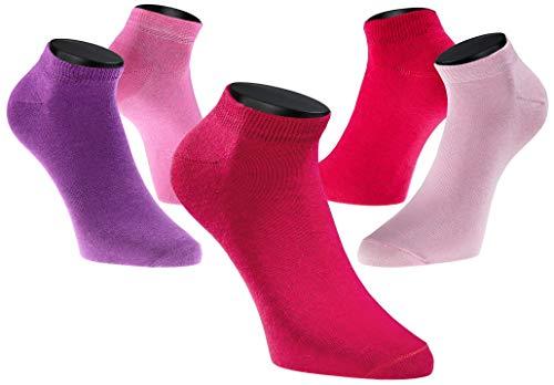 PHINOMEN 10er Set Sneakersocken Farbset: Beerenmix- Füßlinge Damen 80% Baumwolle ideal für Sport Größe 35-38 -