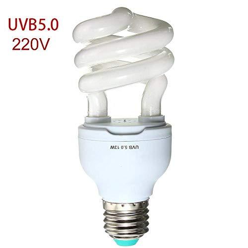 QPllRZZ UV Lampe 13w Licht für Schildkröte Pflanze Haustier Schraube Tageslicht Kompakt Leuchtende 5.0 10.0 Wüste Reptilien Kalzium Nahrungsergänzung Uvb + Uva (5.0 220V) - Wie Bild Turnier, 5.0 220v