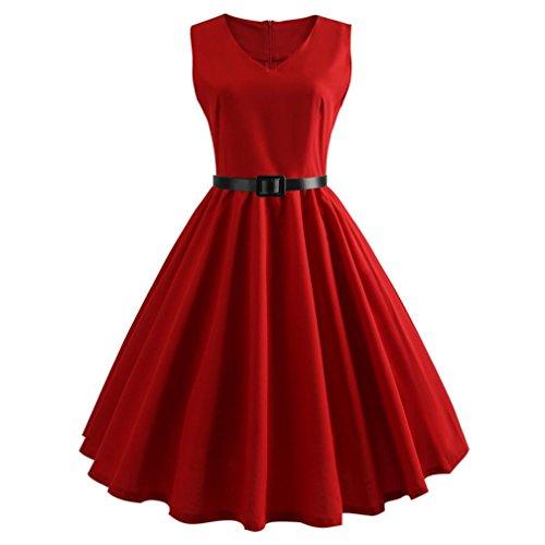 Damen Retro Kleid SUNNSEAN Frauen Taille V-Ausschnitt Sommerkleid Mode Einfarbig Partykleider Elegante Strandkleider Schicke Festliche Großer Rock Kleid (S, Rot)