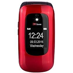 TTfone Lunar TT750RED Téléphone Portable débloqué 2G (Ecran: 2,4 Pouces - 1 Mo - Simple SIM) Rouge