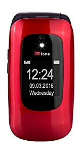 TTfone Lunar TT750 Big Button Simple Easy Clamshell Unlocked Flip Mobile Phone - Red