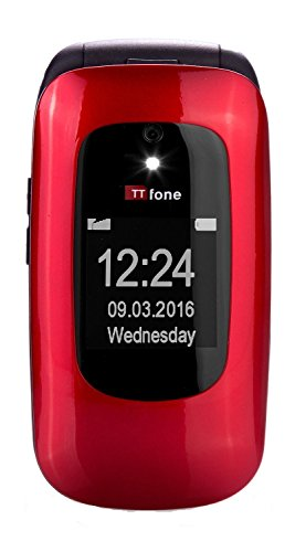 TTfone Lunar TT750 - Teléfono móvil tipo concha (básico, con botones grandes) color rojo