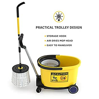 René™ Spin Mop Papa Commercial With Dolly Wheels - Heavy Duty Spin Mop & Bucket With Removable Microfiber Mop Head Powerful Drainer New Cleaning Innovations To Handle Large Office Spaces, Schools, Restaurants, Retail Stores, Hotels & More