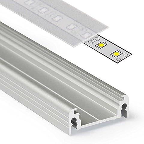 2m Aluprofil SURFACE14 (SU14) 2 Meter Aluminium Profil-Leiste eloxiert für