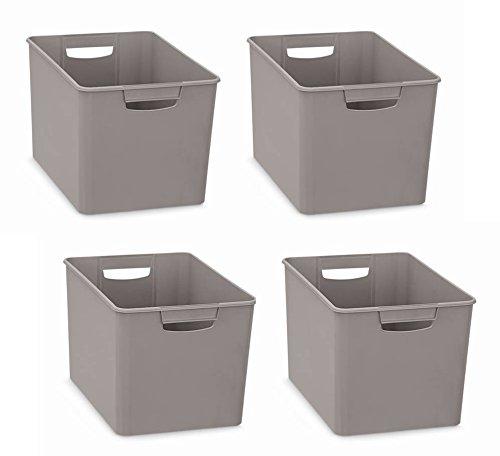4 Stück XL Aufbewahrungsboxen aus Kunststoff mit zwei Griffen in GRAU (nicht transparent). Maße : 26 x 38 x 24 cm - super geeignet als Sammelbox für Regale, Schränke, u.v.m. (Regal 24 X 24 Cm)