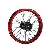 HMParts Alu Felge eloxiert 14 Zoll vorne rot 12 mm Typ2 Pit Dirt Bike Cross