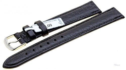 Uhrenarmband Ersatzband Leder Record schwarz 3150-01 Extralang, Breite:16 mm