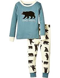 "Hatley Pj Set (App) - Black Bears On Natural ""Bearly Sleeping""-Pijama Niños"