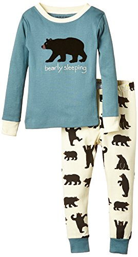Hatley Girl's Black Bears On Natural Bearly Sleeping Pyjama Set