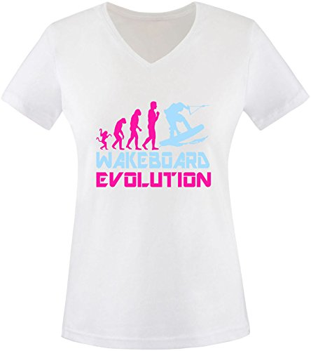 EZYshirt® Wakeboard Evolution Damen V-Neck T-Shirt Weiss/Pink/Hellbl