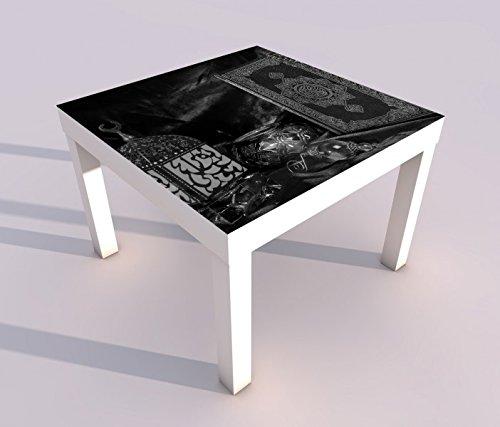 Design - Tisch mit UV Druck 55x55cm schwarz weiss Türkei Koran Buch rot türkisch Islam arabische Schrift Spieltisch Lack Tische Bild Bilder Kinderzimmer Möbel 18A2992, Tisch 1:55x55cm