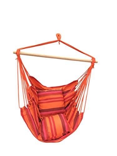 Amaca poltrona con kit di montaggio, supporto in legno e 2 cuscini. sedia sospesa in tessuto per interni giardino e campeggio. set di fissaggio incluso: gancio soffitto, catena e moschettone
