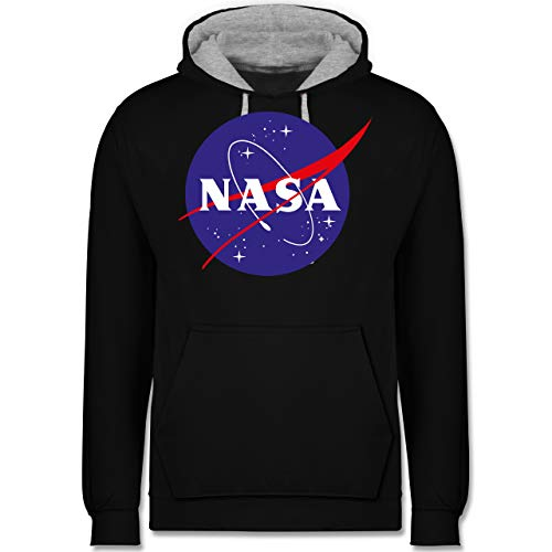 Shirtracer Nerds & Geeks - NASA Meatball Logo - XL - Schwarz/Grau meliert - JH003 - Kontrast Hoodie - Baja Spas