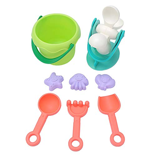 MansWill 8 Stücke Eco Strand Spielzeug Set für Kinder, Außenpool Bad Spielen Sandkasten Shore Spielzeug mit Eimer, Wasserrad, Schaufeln, Rechen und Formen für Mädchen Jungen Kleinkinder Baby