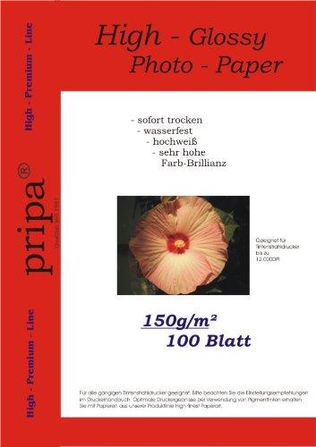 pripa 100 Blatt Fotopapier DIN A4 , 150g/qm , high -glossy (hoch-glaenzend) -sofort trocken -wasserfest-hochweiß-sehr hohe Farbbrillianz, fuer InkJet Drucker (Tintenstrahldrucker). (Inkjet-foto-papier, 100)