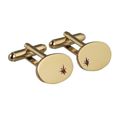 British Jewellery Workshops Plaqué Or Dur 12x17mm Etoiles Ovale réglé Rubis Boutons de Manchettes pivotantes