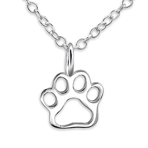 EYS JEWELRY® Damen-Halskette 45 cm Hunde-Pfoten Tatzen 7 x 7 mm blank 925 Sterling Silber silber im Schmuck-Etui Anhänger Kette