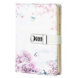 Ai-life Creative PU Leder Password Notebook, A5 Größe Draht Bindung, Geheimnis ausgekleidet Password Tagebuch Sketch mit Zahlenschloss Stifthalter und Kartensteckplätze, 150x215mm