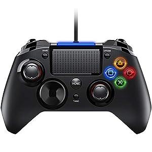 PS4 Controller- Wired Gaming Gamepad mit Dual-Vibration-Turbo und Trigger-Tasten für PlayStation 4/ PlayStation 3/ PC…