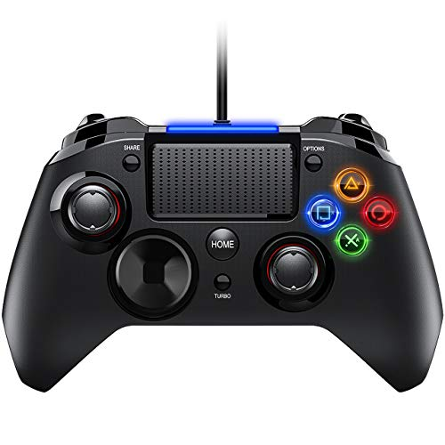 PS4 Controller- Wired Gaming Gamepad mit Dual-Vibration-Turbo und Trigger-Tasten für PlayStation 4/ PlayStation 3/ PC (Windows XP/ 7/8/ 8.1/ 10)/ Android/ Steam, Schwarz