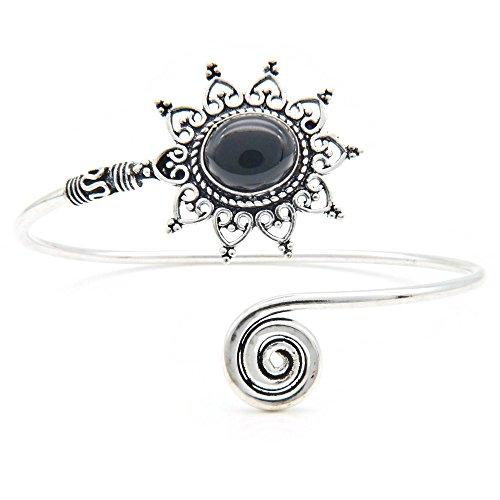 mantraroma Armreif Armband versilbert silbern Onyx schwarz (922-05-024-03)