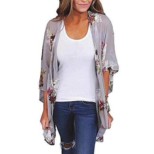 feiXIANG Damen Kimono Cardigan Top Lose Beachwear Cover Print Chiffon Mantel Druck Große Größe Tunika(Grau,XL) -