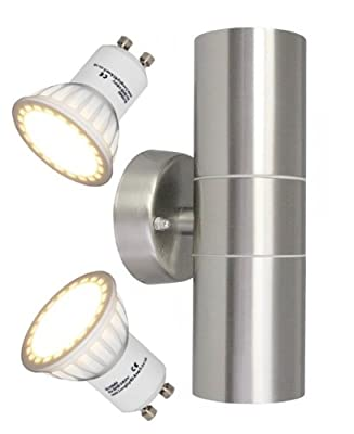 GU10 8Watt LED wall light Stainless Steel Double Outdoor Up Down Wall Light IP65 - cheap UK wall light shop.